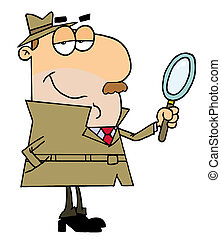 Caucasian Cartoon Detective Man With A Magnifying Glass In...
