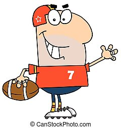 Caucasian Cartoon Football Man