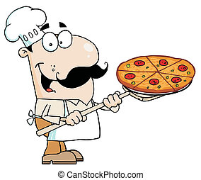 Caucasian Chef Carrying A Pizza Pie - Happy Caucasian Chef...