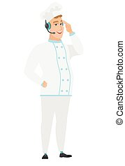 Caucasian chef cook in headset with microphone.