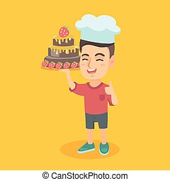 Caucasian child in chef hat holding a cake.