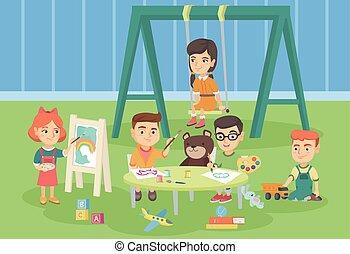 Caucasian children playing in the playground.