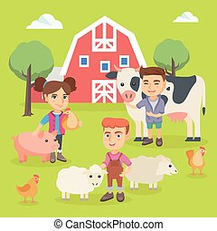 Caucasian children playing with farm animals.