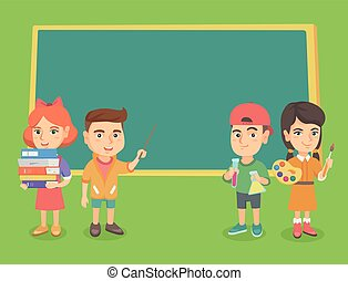 Caucasian classmates standing near the blackboard.