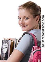 Caucasian college student with backpack notebooks