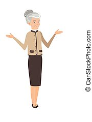 Caucasian confused business woman with spread arms
