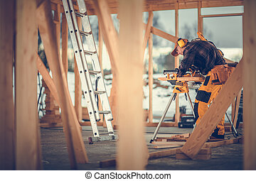 Wooden House Frame Assembly Construction Zone Theme