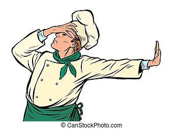 Caucasian cook chef, gesture of shame. denial no. Pop art ...