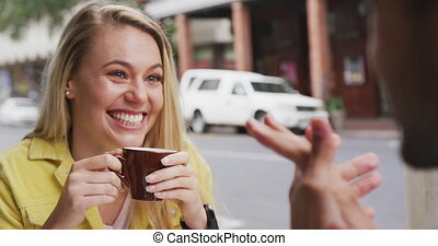 Caucasian couple enjoying at terrace coffee - Caucasian ...