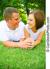 Caucasian Couple Holding Hand