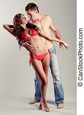 Caucasian couple posing