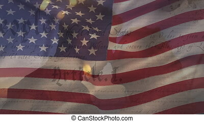 Animation of U.S. flag waving with U.S. Constitution text rolling over Caucasian couple touching each others foreheads. United States of America flag and holiday concept digital composition