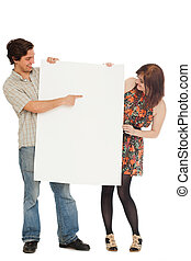 Caucasian couple with blank papers
