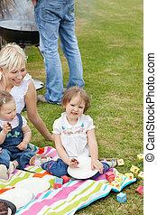 caucasian család, having piknikel, együtt