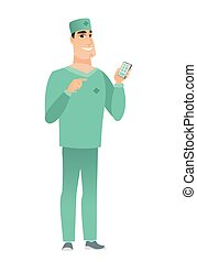 Caucasian doctor holding a mobile phone.