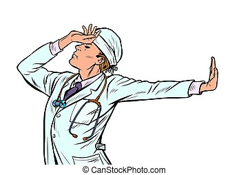 Caucasian doctor man medicine. shame denial gesture no