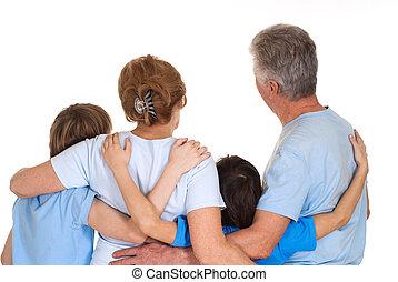 caucasian, elderly kopplar ihop, med, deras, barnbarn