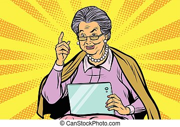 Caucasian elderly woman with a tablet