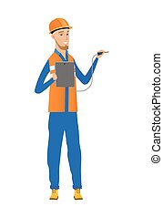 Caucasian electrician with electrical equipment. - Young...