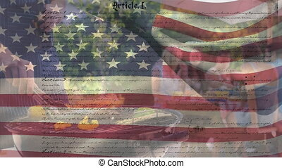 Animation of U.S. flag waving with U.S. Constitution text rolling over a group of Caucasian friends making a barbecue in garden. United States of America flag and holiday concept digital composition
