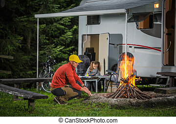 Family on the Summer Camping