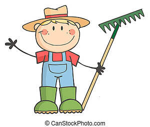 Caucasian Farmer Boy Holding A Rake And Waving