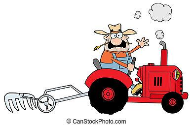 Caucasian Farmer Driving A Tractor
