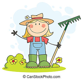 Caucasian Farmer Girl - Gardening Female Child Waving A...