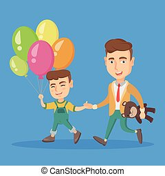 Caucasian father with son go to a birthday party. - Young...