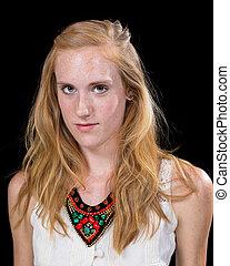 Caucasian Female Expression Portrait