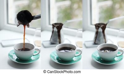 Caucasian female hand pours hot black aromatic coffee into ceramic white cup from Cezve. Vertical video set