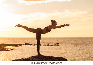 caucasian fitness woman practicing yoga