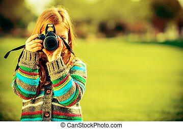 caucasian, flicka, med, kamera
