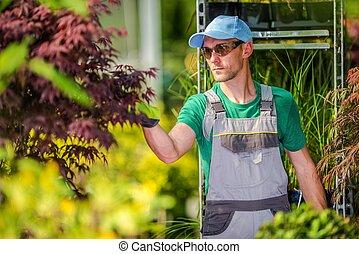 Caucasian Florist at Work