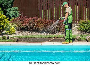 Finishing Outdoor Backyard Garden Swimming Pool Area