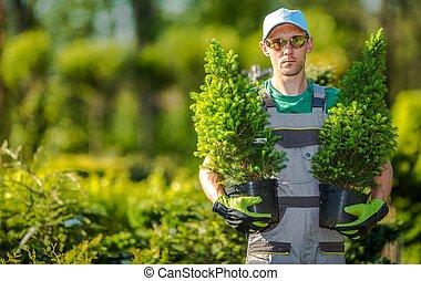 Gardener with Plants
