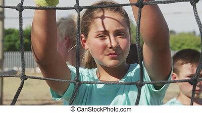 Caucasian girl at boot camp - Portrait of a Caucasian girl ...