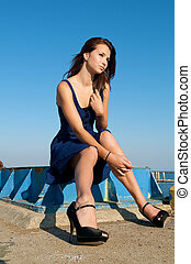 Caucasian girl blue dress