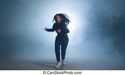 Caucasian girl dancing hip hop. - Caucasian girl dancing hip...