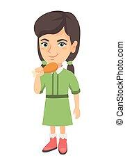 Caucasian girl eating roasted chicken leg.