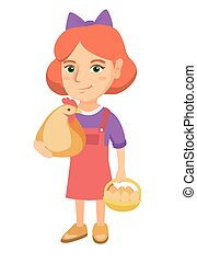 Caucasian girl holding a chicken and hen eggs.