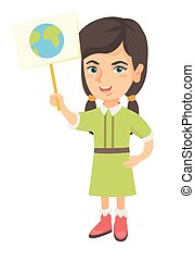 Caucasian girl holding a placard with planet.