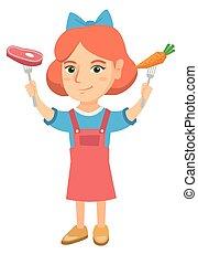 Caucasian girl holding fresh carrot and steak.