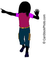 Caucasian Girl Illustration Silhouette - Caucasian girl...