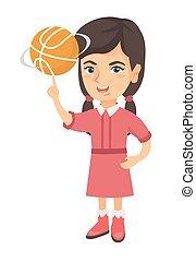 Caucasian girl spinning basketball ball on finger.
