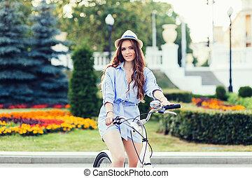Caucasian girl with bike