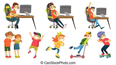 Caucasian girls and boys vector illustrations set. -...