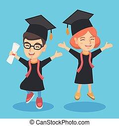 Caucasian graduation kids with diploma celebrating