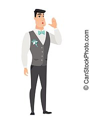 Caucasian groom calling for help.