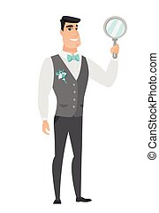 Caucasian groom in a wedding suit holding a hand mirror. Full length of groom looking at himself in a hand mirror. Groom with hand mirror. Vector flat design illustration isolated on white background.